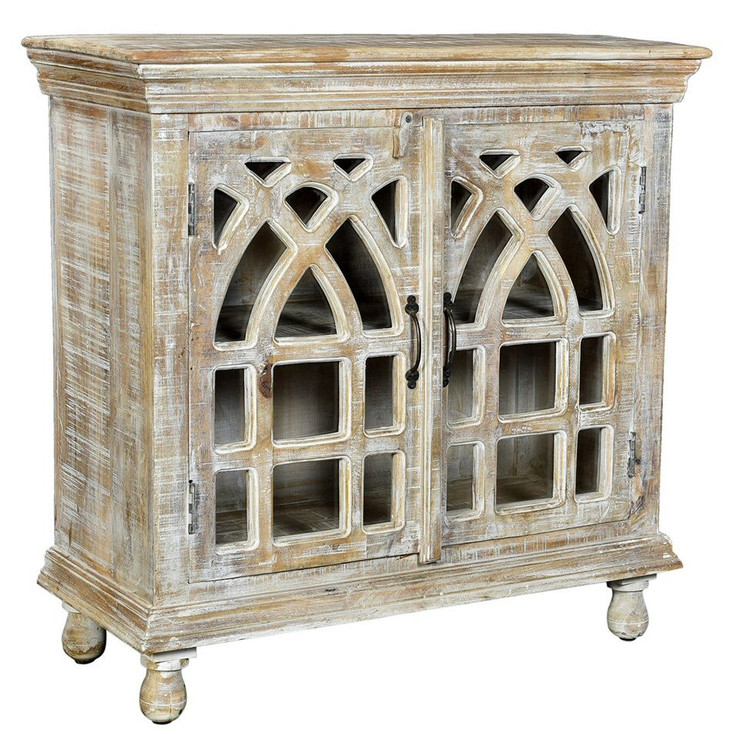 Bengal Manor Cathedral Design 2 Door Light Mango Wood Cabinet