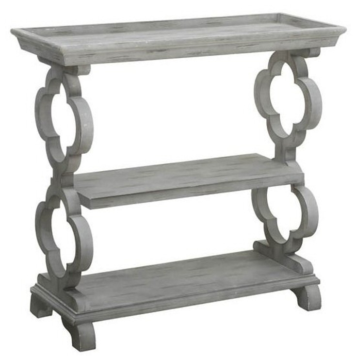 Chelsea Tray Top Grey Quatrefoil Wood Console Table