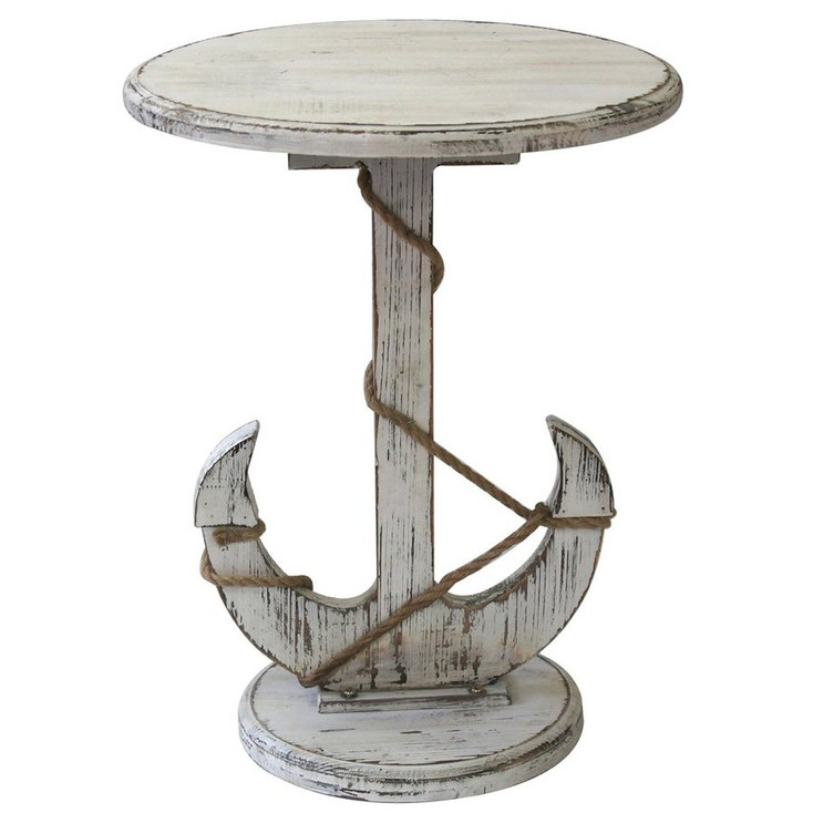 Harbor Distressed White Anchor Wood End Table
