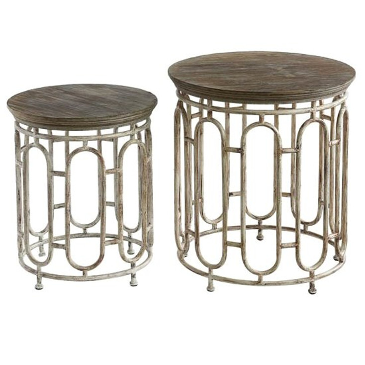 Allyson Textured Metal and Wood End Tables, Set of 2