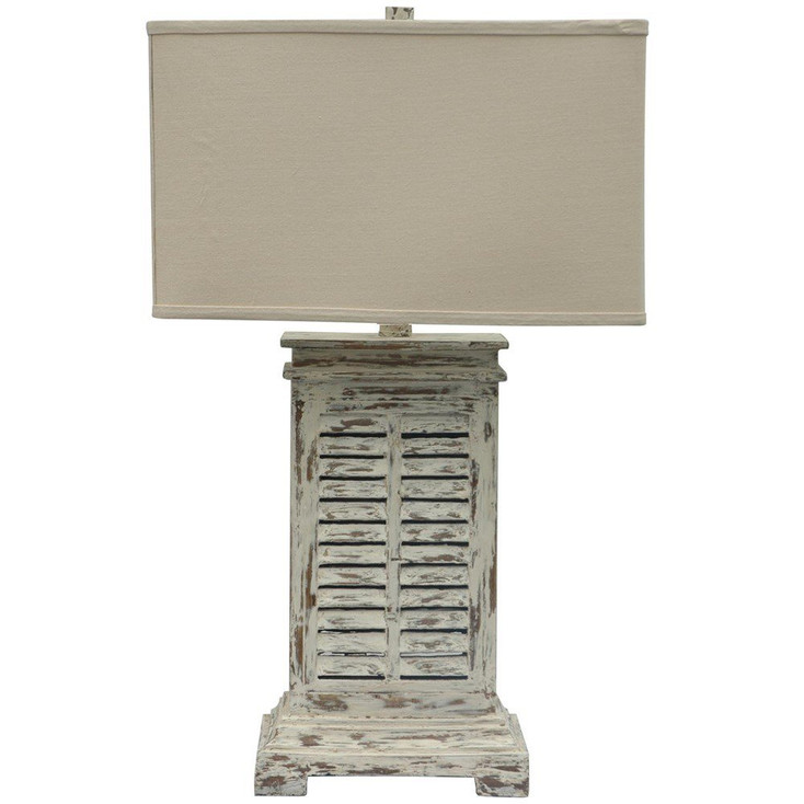 Antique Shutter Resin Table Lamp with Natural Linen Shade