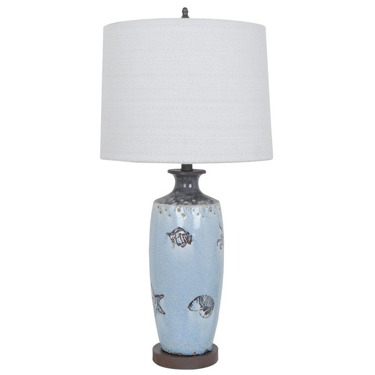 Costal Marine Ceramic Table Lamp with Cream Linen Shade