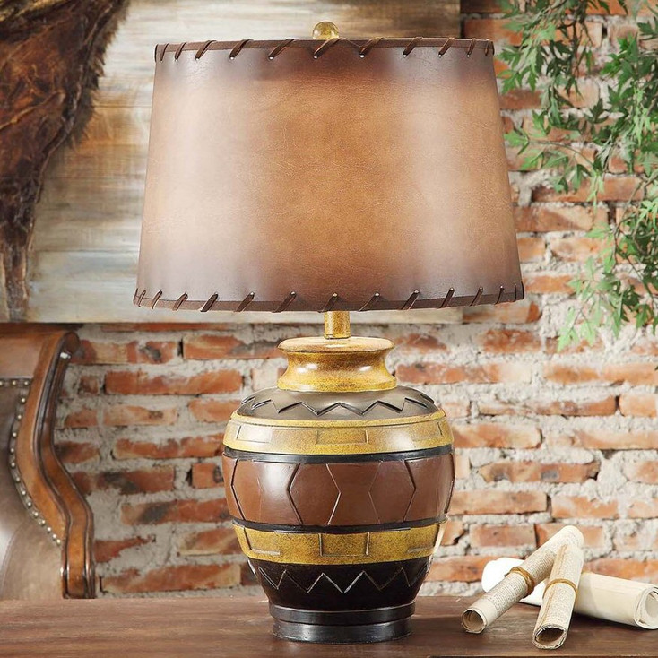 Dakota Pottery Resin Table Lamp with Antique Leather Shade