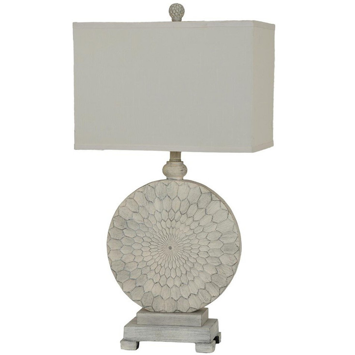 Sun Dance Resin Table Lamp with Cream Linen Shade