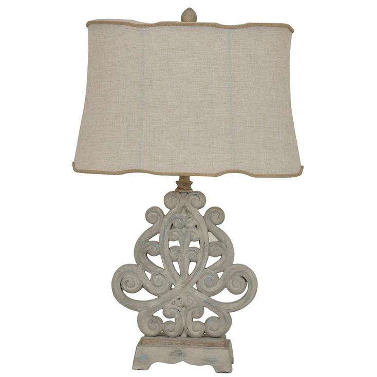 Sarah Resin Table Lamp with Natural Linen Shade