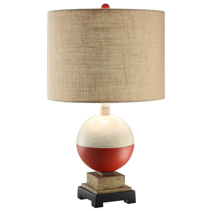 Bobber Fishing Resin Table Lamp with Burlap Shade