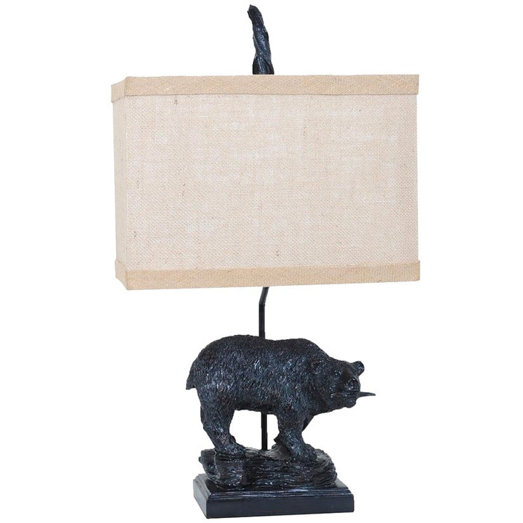 Fishing Bear Resin Table Lamp with Burlap Shade
