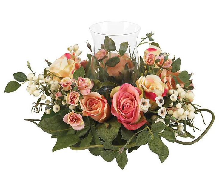 Rose Candelabrum Silk Flower Arrangement - Asst