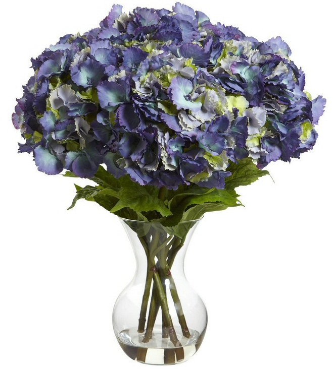 Large Blue Hydrangea with Vase Silk Flower Arrangement