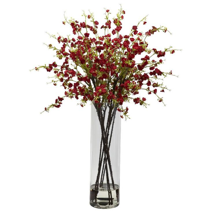 Giant Red Cherry Blossom Silk Flower Arrangement