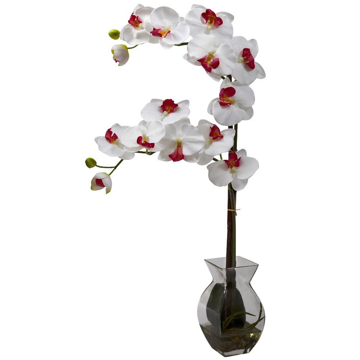 Phalaenopsis White Orchid Silk Flower Arrangement with Vase