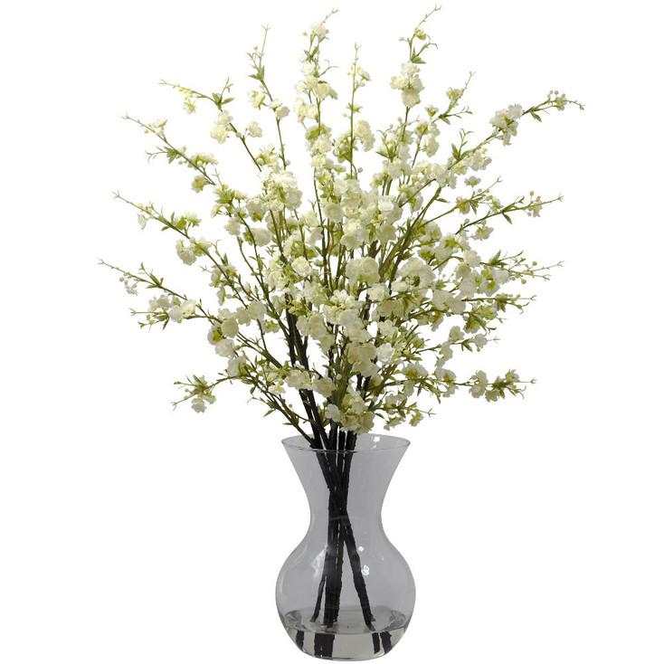 White Cherry Blossoms with Vase Silk Flower Arrangement