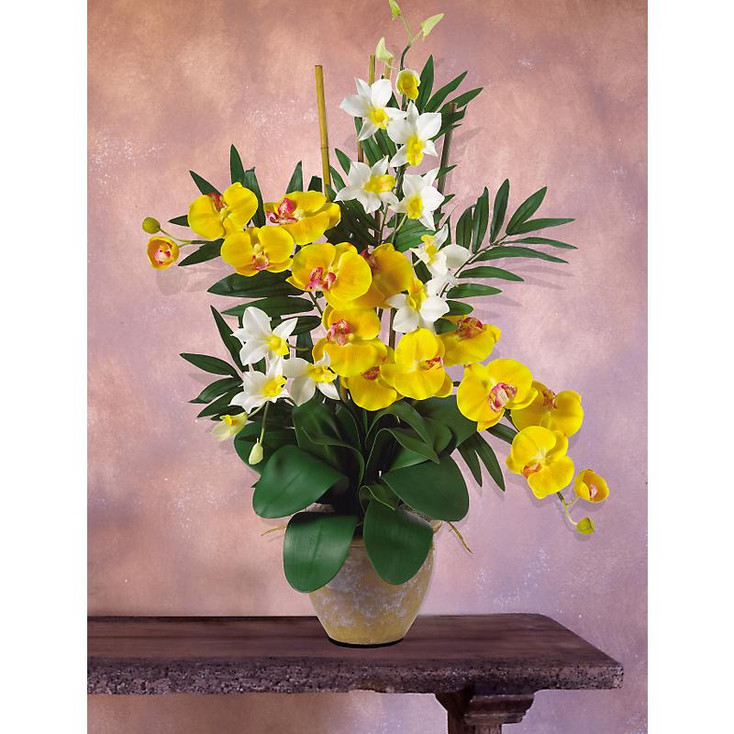 Double Phal / Dendrobium Silk Orchids - Yellow Cream