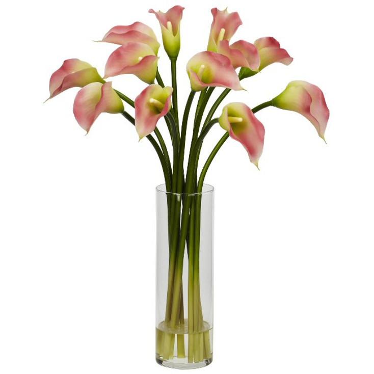 Mini Calla Lily Silk Flower Arrangement - Pink