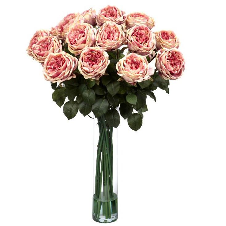 Fancy Rose Silk Flower Arrangement - Pink