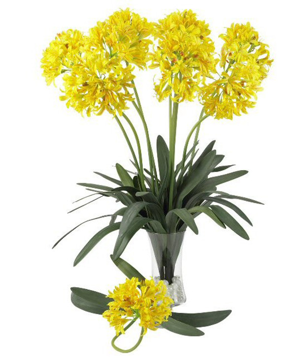 """29"""" African Lily Silk Flower Stem - Yellow, Set of 12"""