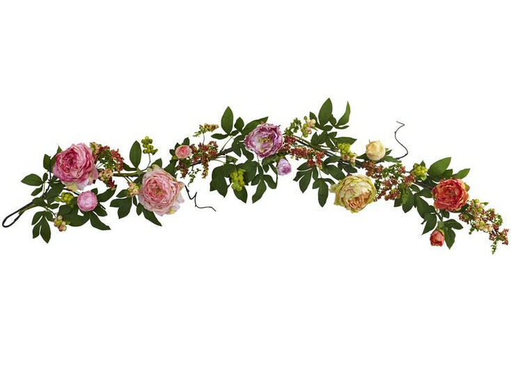 60'' Mixed Peony and Berry Garland