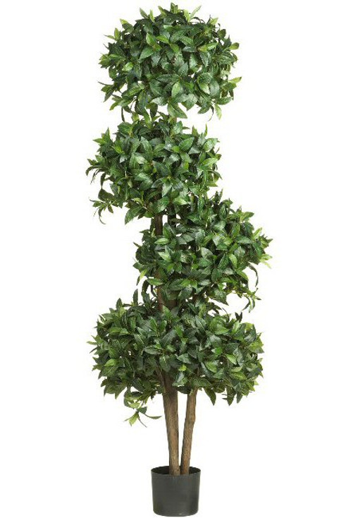 "69"" Sweet Bay Topiary with 4 Balls Silk Tree"