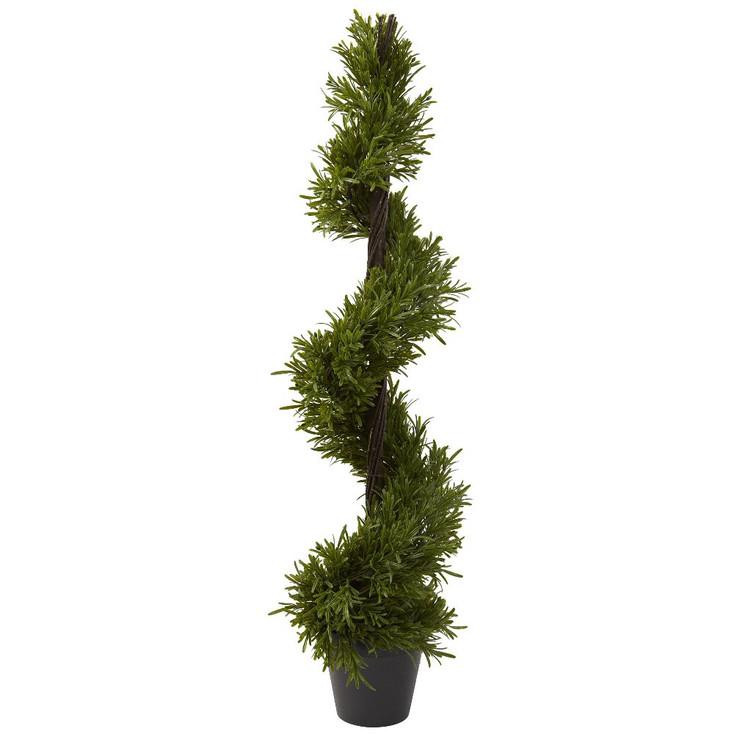 "39"" Rosemary Spiral Silk Tree Indoor Outdoor"