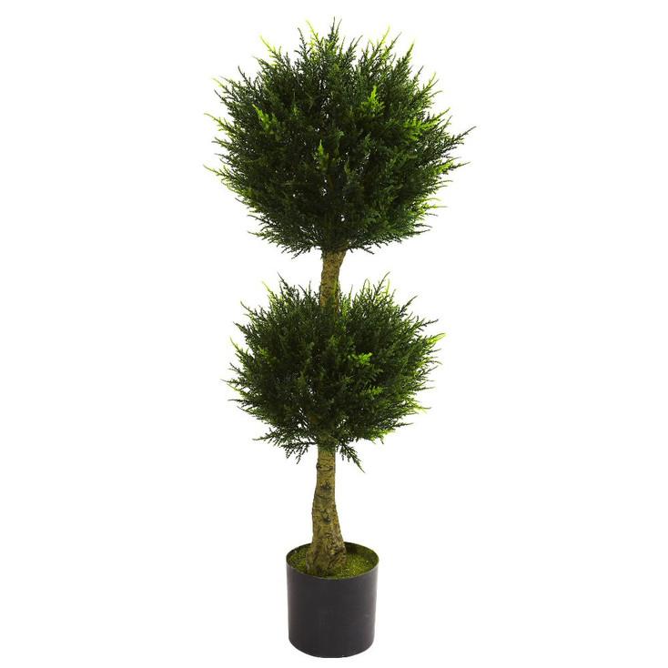 4' Silk Double Ball Cypress Topiary UV Resistant Indoor Outdoor