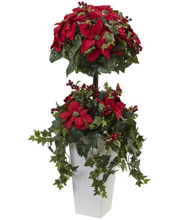 4' Poinsettia Berry Topiary Silk Tree with Decorative Planter