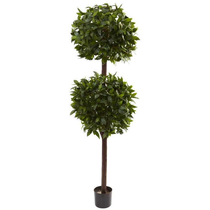 6' Silk Sweet Bay Double Ball Topiary