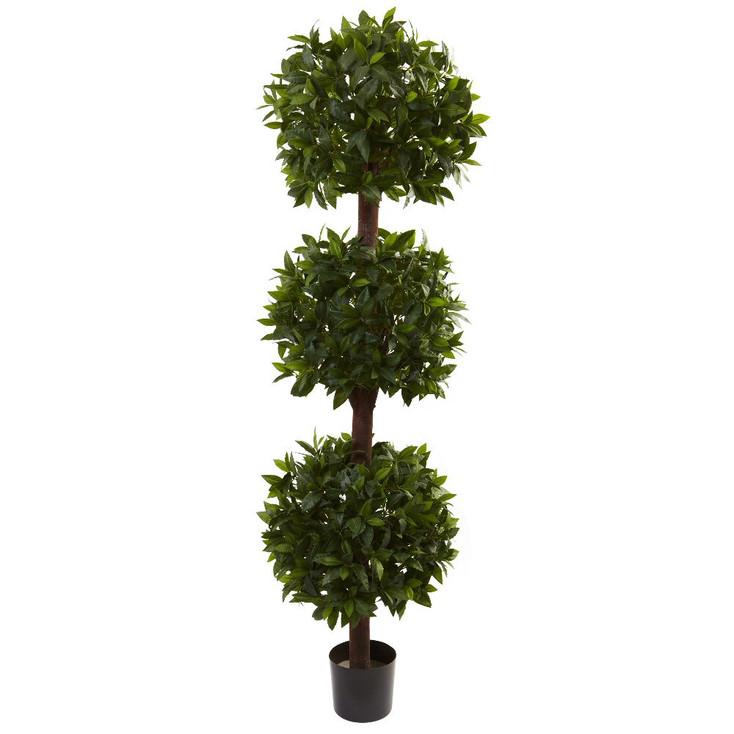 6.5' Silk Sweet Bay Triple Ball Topiary