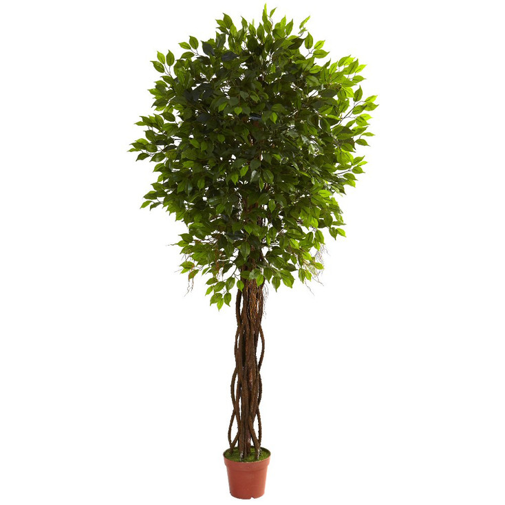 7.5' Silk Ficus Tree UV Resistant Indoor Outdoor