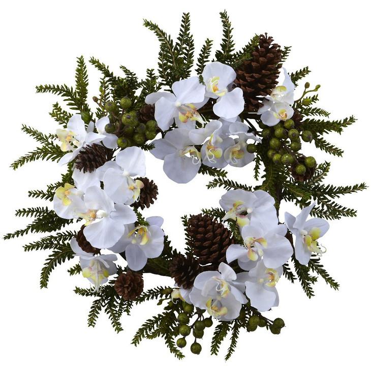 "22"" Phalaenopsis & Pine Silk Wreath"