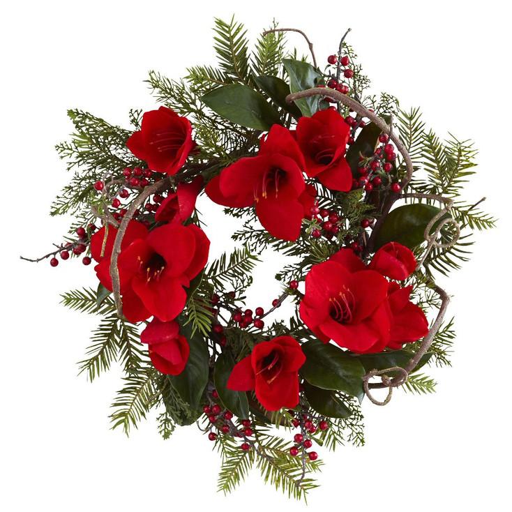 "24"" Amaryllis Silk Wreath"