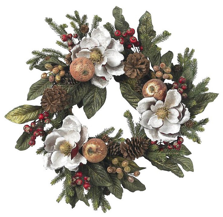 "24"" Magnolia Pinecone and Berry Wreath"