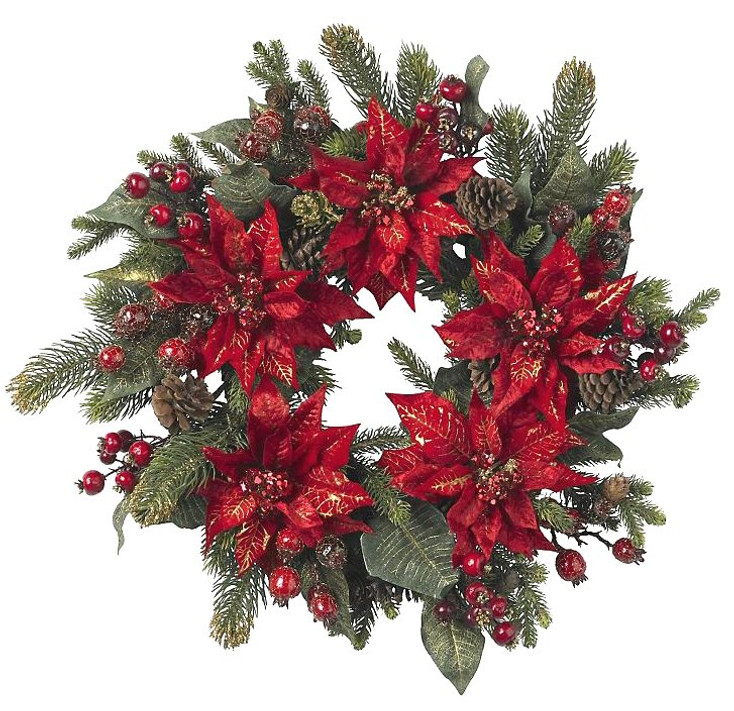 "24"" Poinsettia and Berry Wreath"
