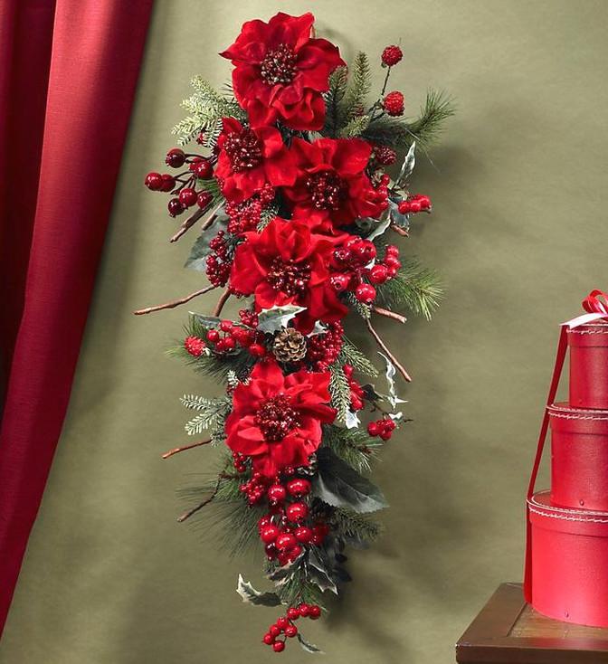 Poinsettia Teardrop Silk Arrangement