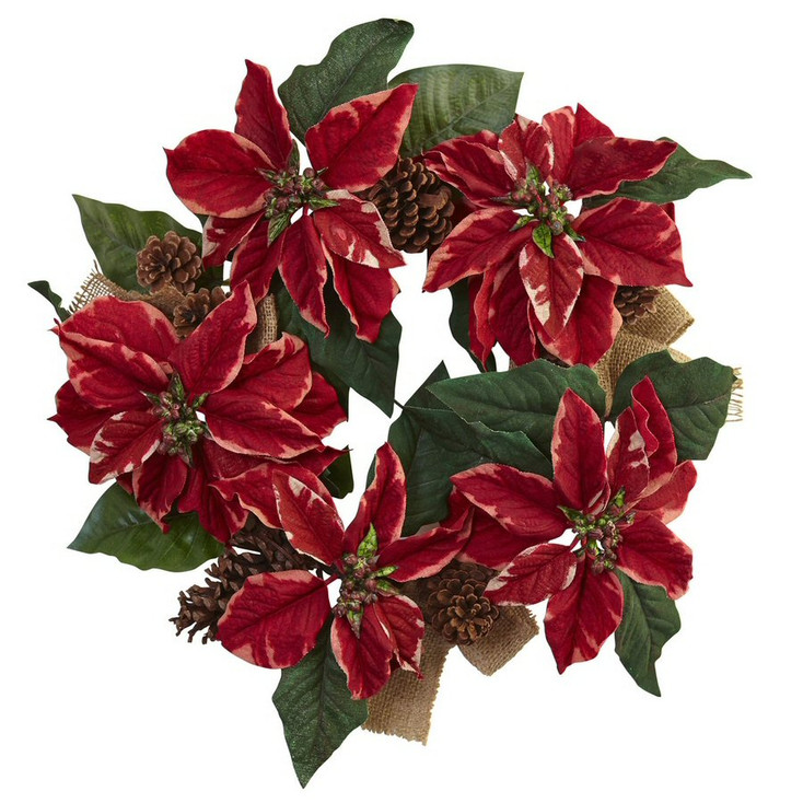 "22"" Poinsettia, Pine Cone and Burlap Silk Wreath"