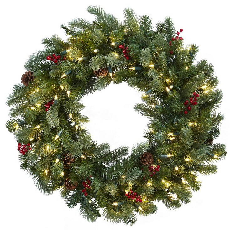 """30"""" Lighted Pine Silk Wreath with Berries and Pine Cones"""
