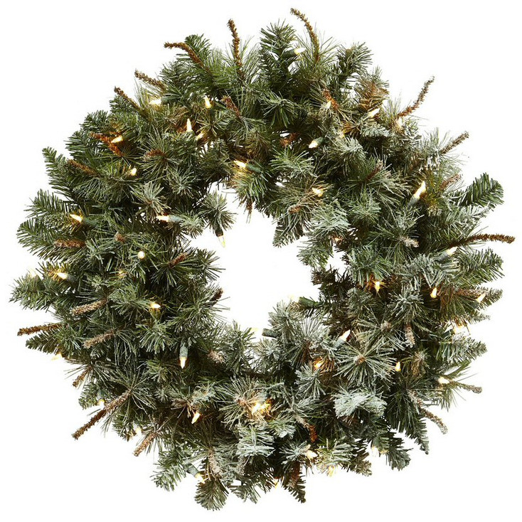 """30"""" Lighted Frosted Pine Silk Wreath"""