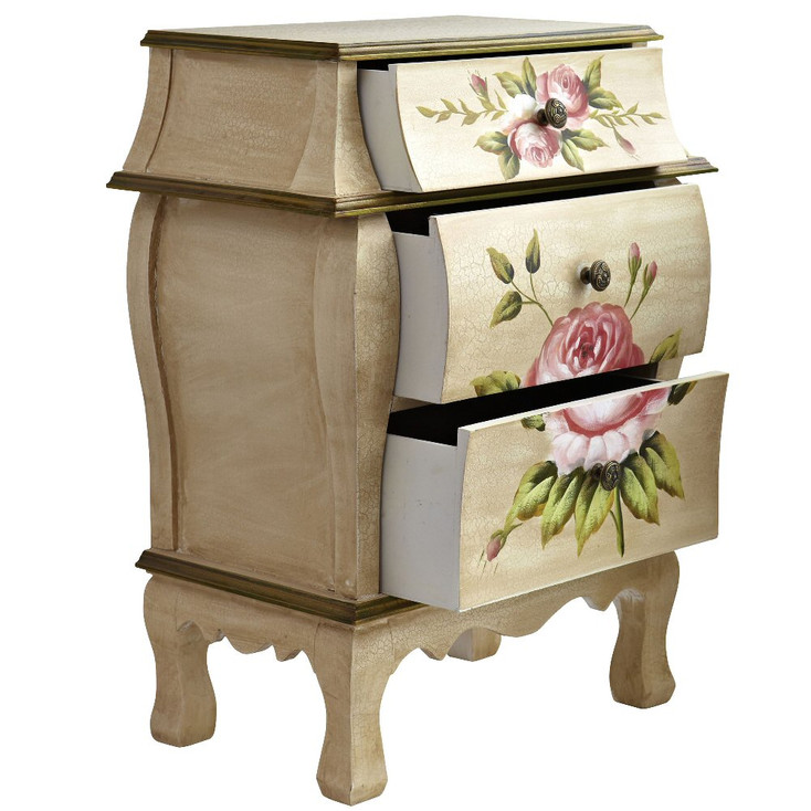 Antique Night Stand Cabinet with Floral Art