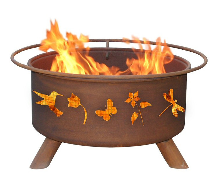 Flower and Garden Birds and Butterflies Metal Fire Pit
