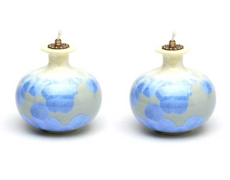 Yellow and Blue Oil Lamp, Set of 2