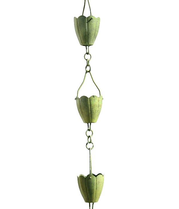 3' Metal Verdigris Flower Cup Rain Chain