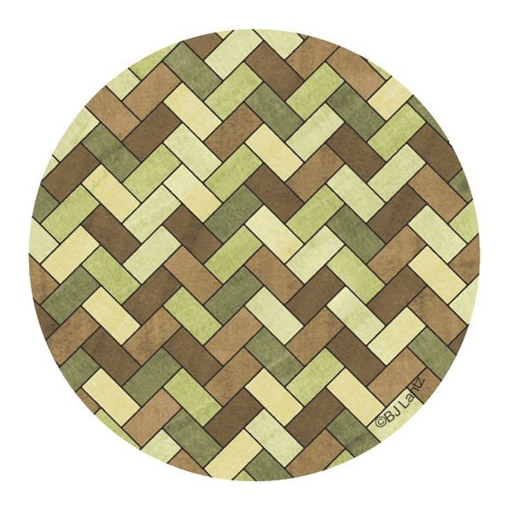 Green Brown Herringbone Sandstone Round Coasters by BJ Lantz, Set of 8