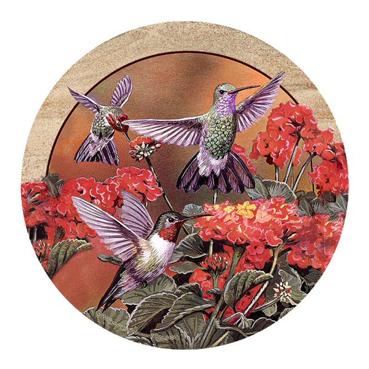 Hummingbirds and Flowers Coasters by William Vanderdasson, Set of 8