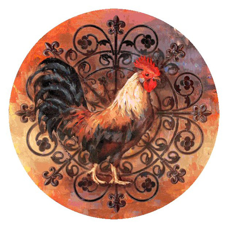 Rooster Absorbent Round Beverage Coasters, Set of 8