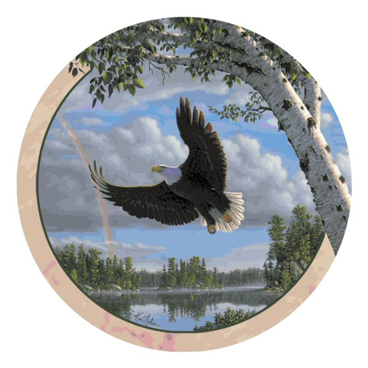 Flying Eagle Round Beverage Coasters by Kim Norlien, Set of 8