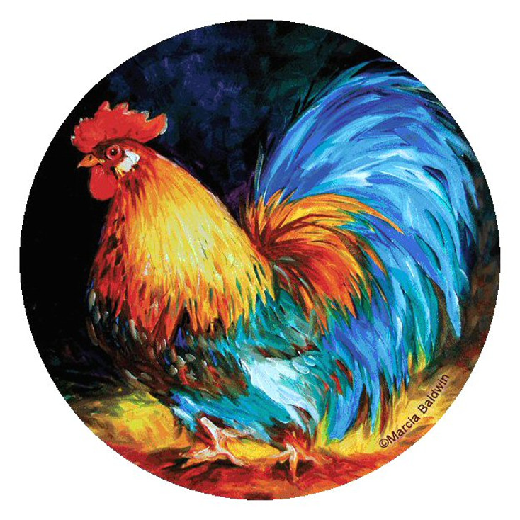 Rooster Proud Bird Round Beverage Coasters Marcia Baldwin, Set of 8