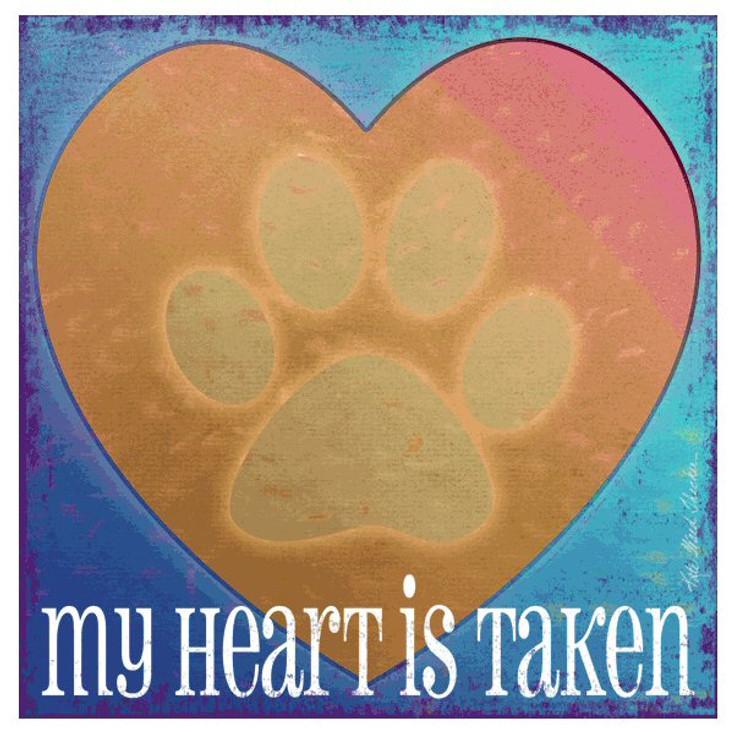 My Heart is Taken Cat Beverage Coasters by K. Ward Thacker, Set of 12