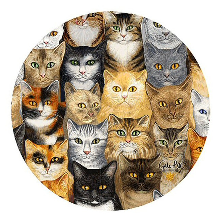 Cats Cats Cats Sandstone Beverage Coasters by Gale Pitt, Set of 8