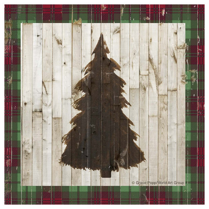 Rustic Christmas Tree Absorbent Beverage Coasters, Set of 12