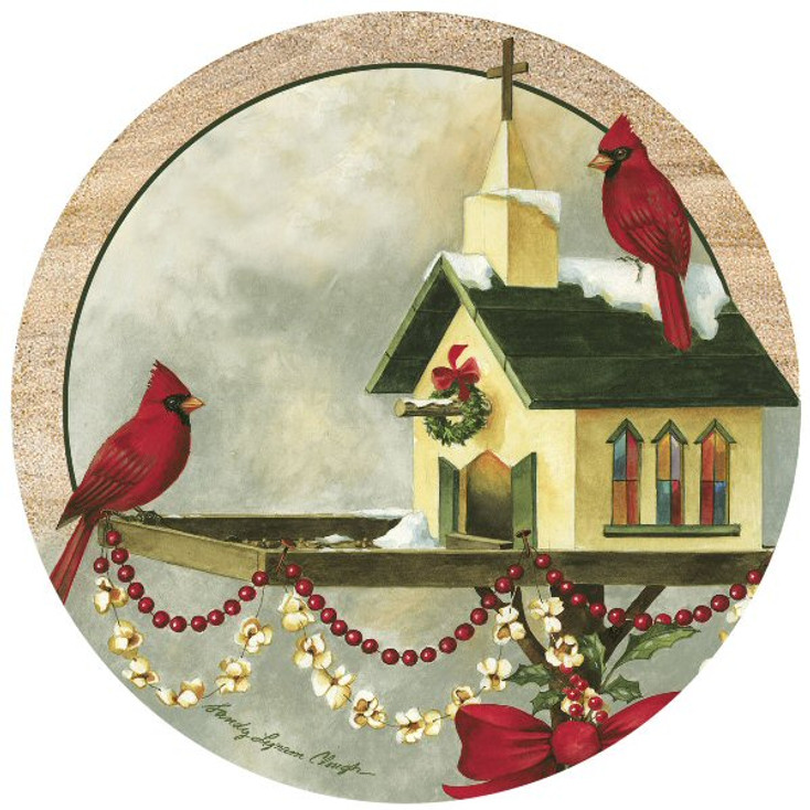 Christmas in the Garden Sandstone Beverage Coasters, Set of 8