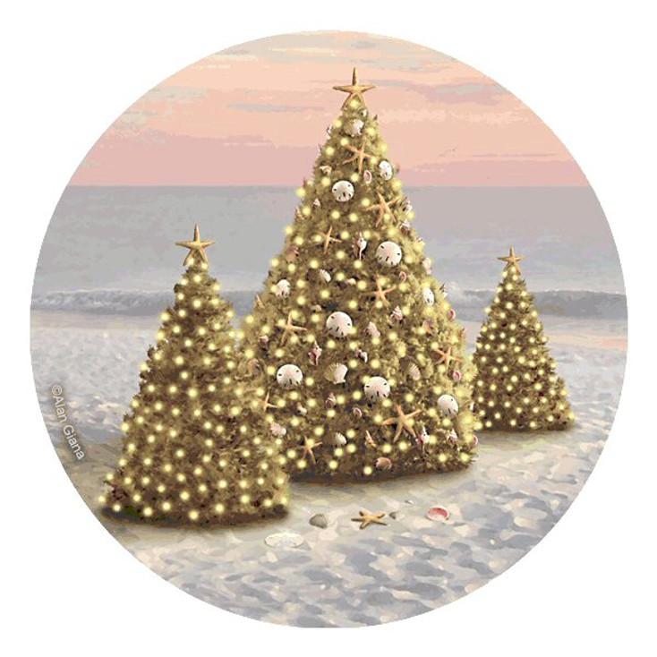 Christmas Trees on a Beach Round Coasters by Alan Giana, Set of 8